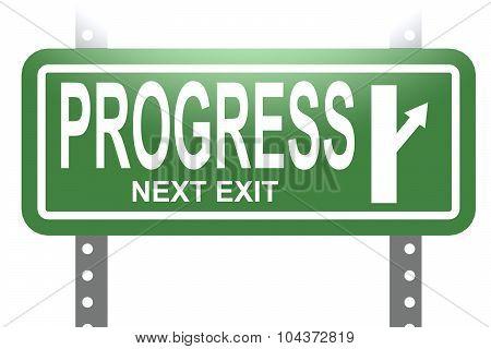 Progress Green Sign Board Isolated