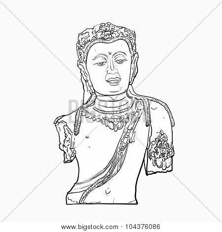 Drawing Head Of Bodhisattva