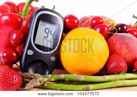 Glucose meter with fresh ripe fruits and vegetables concept of diabetes healthy food nutrition and strengthening immunity poster