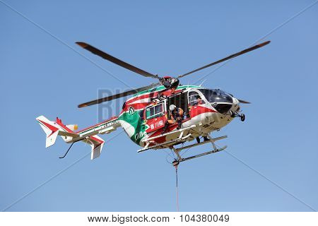 fireman works with a helicopter