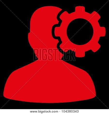 Migraine raster icon. Style is flat symbol, red color, rounded angles, black background. poster