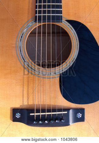 Guitar Soundhole, Bridge, And Fingerboard