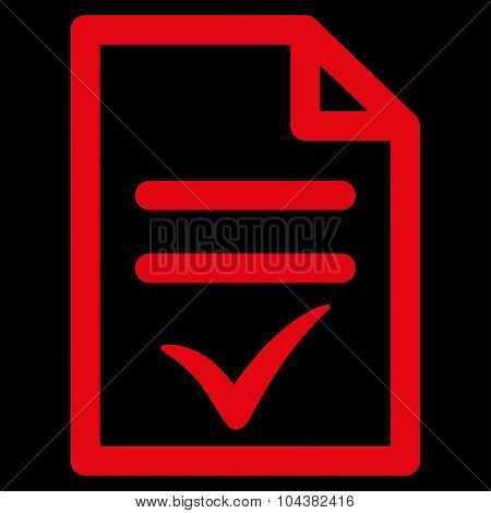 Valid Document raster icon. Style is flat symbol, red color, rounded angles, black background. poster