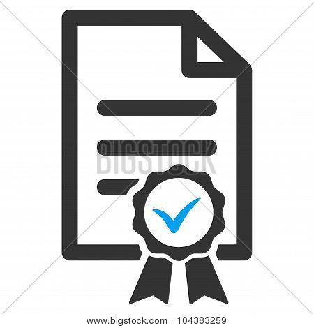 Certified raster icon. Style is bicolor flat symbol, blue and gray colors, rounded angles, white background. poster