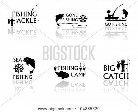 set of fishing symbols