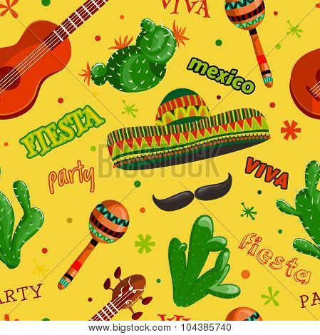 Seamless pattern Fiesta party with mexican guitar, maracas, sombrero, mustache and cactuses.Hand dra