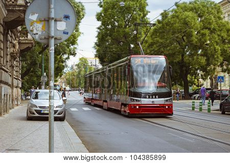 High-tech trams Skoda on a wide street in the district Nove Mesto Prague's