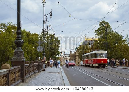 Old tram Skoda on the bridge of the Legions (Most legii)