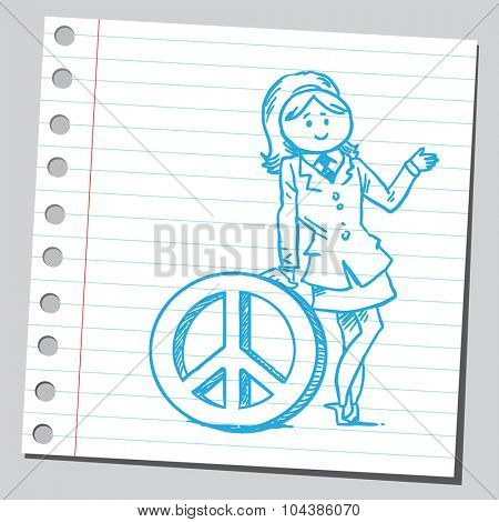 Businesswoman with peace symbol