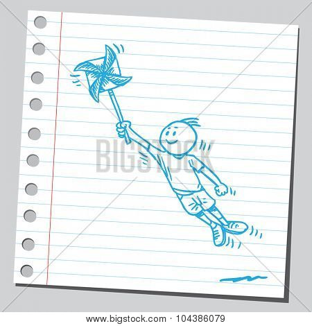Kid fly with pinwheel