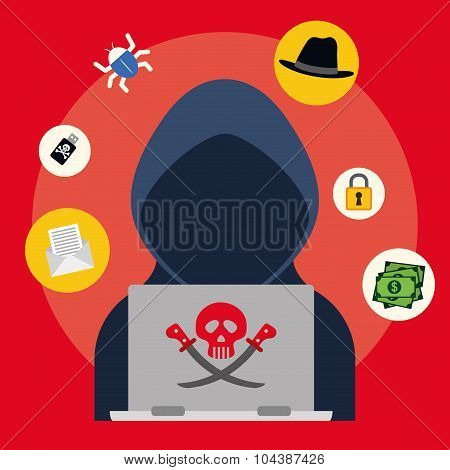 Digital fraud and hacking design, vector illustration. poster