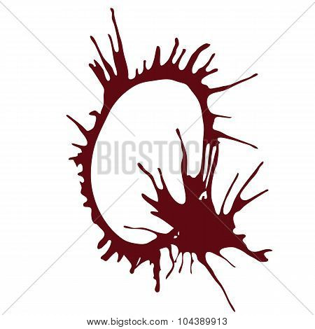 Dripping blood ink fonts the letter Q.