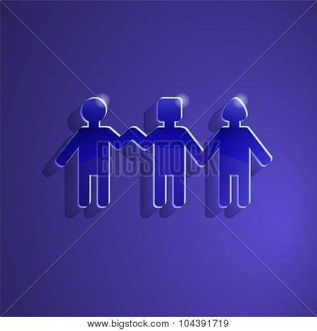 People Holding Hands.glass Icon. Group Of People. Stock Vector