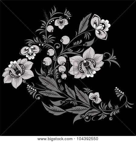 Rusian Black And White Ornament. Traditional Slavs Pattern. Vector Illustration