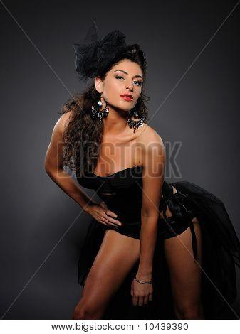 Beautiful Sexy Cabaret Girl Dancing