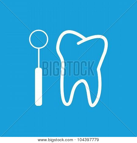 Tooth checkup icon, white simple image isolated on blue background poster