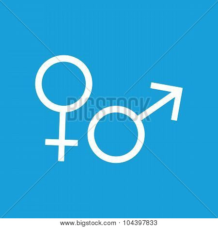 Gender symbols icon, white simple image isolated on blue background poster