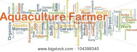Background concept wordcloud illustration of aquaculture farmer