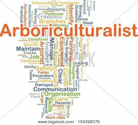 Background concept wordcloud illustration of arboriculturalist