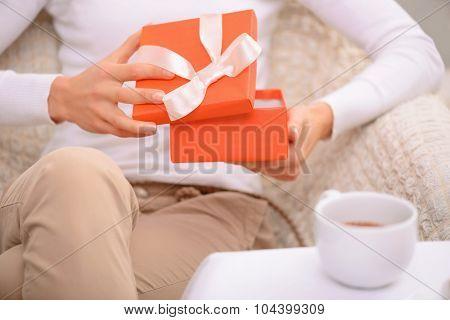 Nice man holding present