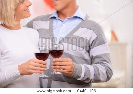 Pleasant couple drinking wine