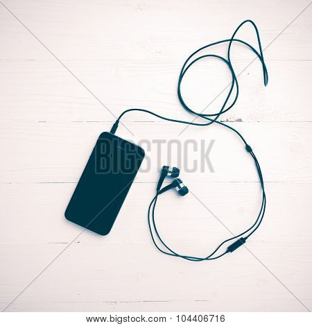 Cellphone With Earphone Vintage Style
