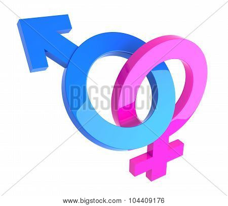 male and female 3D gender symbols interlocked isolated on white. poster