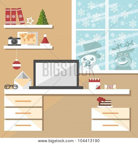 christmas office interior with snowman and reindeer peeking through the window