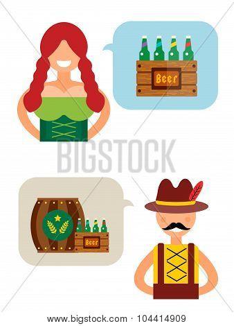 Oktoberfest boy, girl vector people