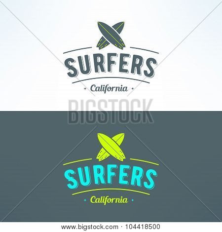 Vector surfing logo with surfboards. Surfing shop emblem. T-shirt print. Surf trip badge or banner