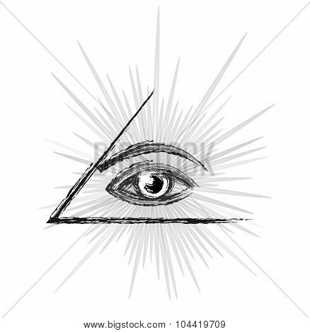 Masonic symbol - All seeing eye of providence in a pyramid sketch black and white silhouette vector illustration isolated over white background poster
