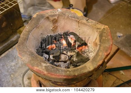 Old Clay Stove For Traditional Cooking In Thailand