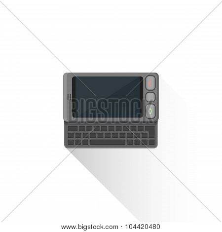 Vector Flat Style Gray Communicator Qwerty Slider Illustration Icon.
