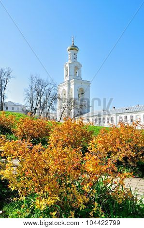 The Bell Tower Of Yuriev Monastery In Veliky Novgorod, Russia
