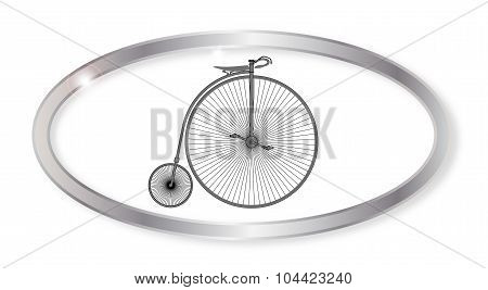 Oval silver button with a penny farthing bicycle isolated on a white background poster