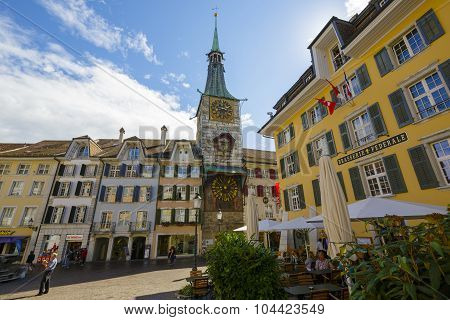 Clock Tower In Solothurn