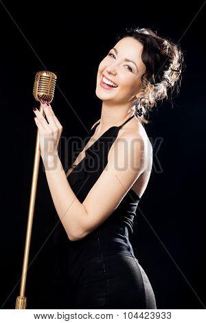 Happy Beautiful Girl Singer Laughing Behind Retro Microphone