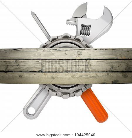 Screw driver with screw key