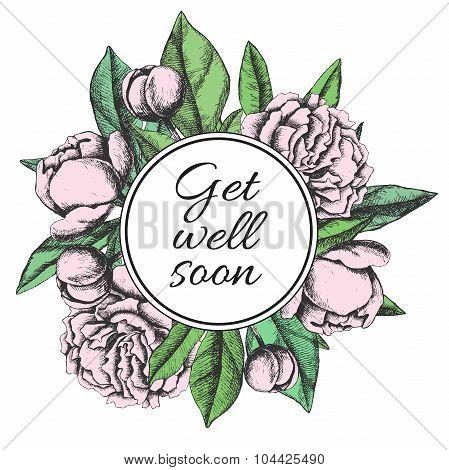 Get Well Soon. Friendly Vector Vintage Card