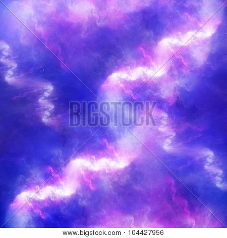 Colorful Glowing High Energy Nebula In Space