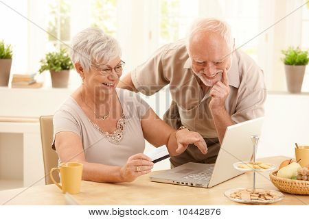 Happy Older Couple Doing Online Shopping