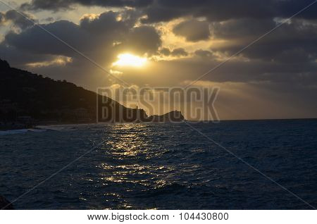 view of the sunrise the Ligurian Riviera Finale Ligure Italy poster