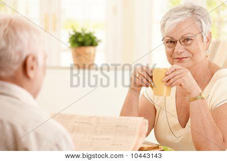Portrait Of Senior Woman Having Morning Coffee