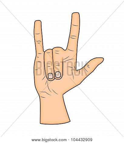 Horns Hand, Satan Sign Finger Up Gesture. Vector Isolated On White Background. Realistic Cartoon Ill