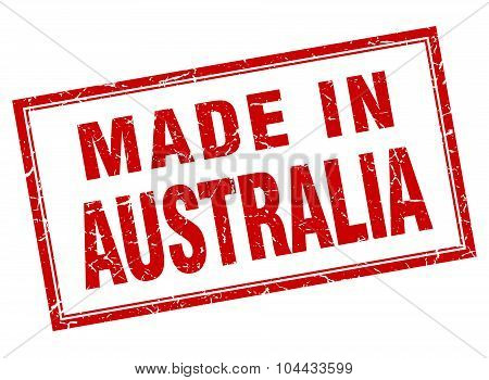 Australia Red Square Grunge Made In Stamp