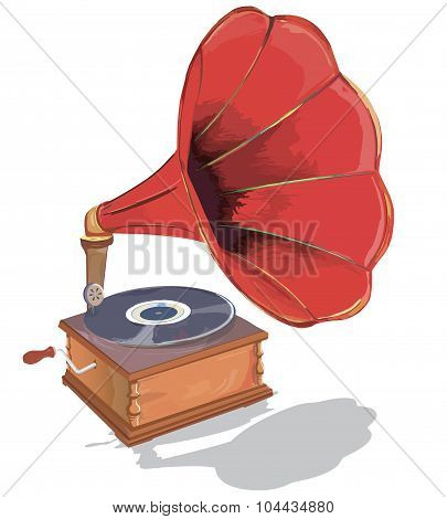 Old gramophone.  First music on vinyl.