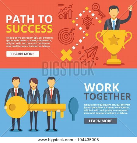 Path to success. work together, team work flat illustration set