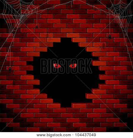Evil Eye In The Hole Of The Brick Wall