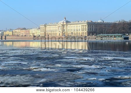 Academy Of Fine Arts At The University Embankment  In Saint Petersburg, Russia