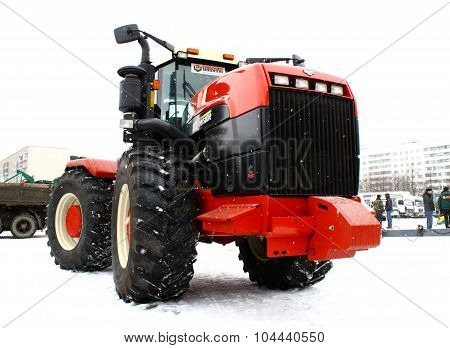 UFA, RUSSIA - MARCH 14: Large modern Buehler Versatile 2375 four wheel drive tractor exhibited at the annual motor show